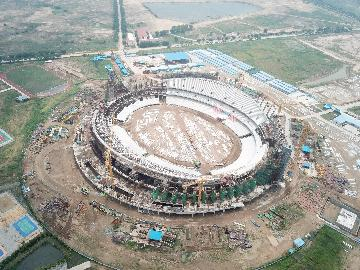 Half of construction work completed on China-aided stadium in Cambodia
