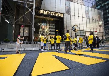 "NYC paints ""Black Lives Matter"" mural in front of Trump Tower"