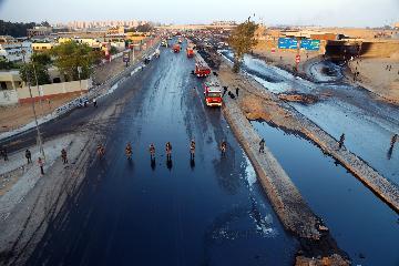 埃及開羅附近一輸油管道發生原油洩漏引發火災致17人受傷