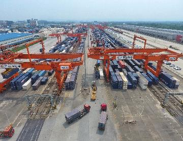 Xinjiangs border port sees surging China-Europe freight trains