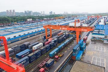 First China-Europe freight train carrying complete Audi imports arrives in Chongqing